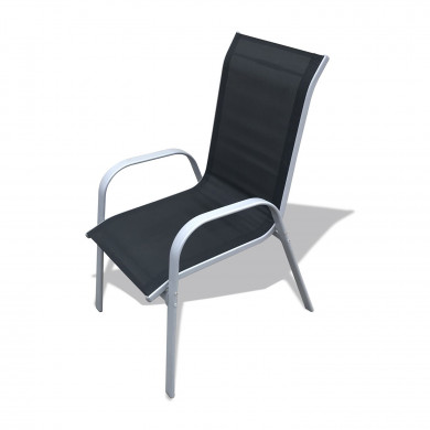 Table de jardin 150cm convivale  + 6 fauteuils textilène Noir - VIGO