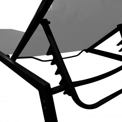 Duo de bains de soleil empilables en aluminium Gris - transat multi position - COSTA