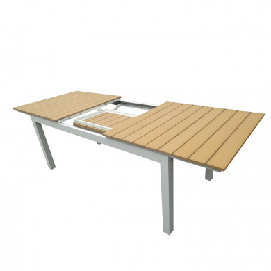 Table de jardin extensible aluminium bois composite- 180/240cm - 10 places - blanc - PALMA
