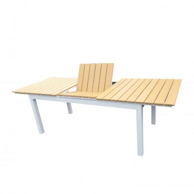 Table de jardin extensible aluminium bois composite- 180/240cm - 10 places - blanc - PALMA