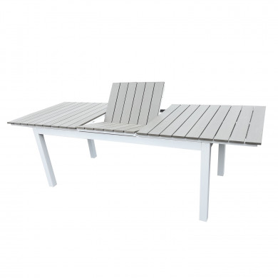 Table de jardin extensible aluminium bois composite- 180/240cm - 10 places - blanc gris- PALMA