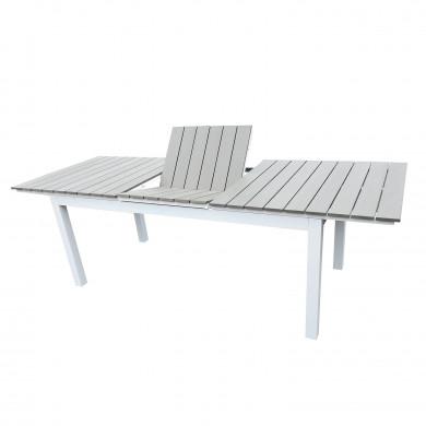 Table de jardin extensible aluminium bois composite- 180/240cm - 10 places - blanc gris- PALMA