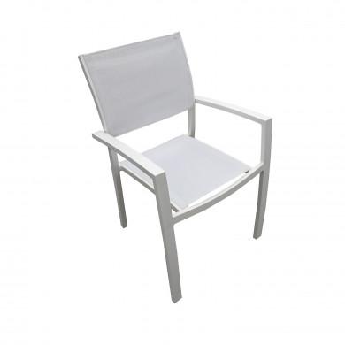Table de jardin extensible aluminium 180/240cm blanc gris + 10 fauteuils empilables textilène - PALMA 10