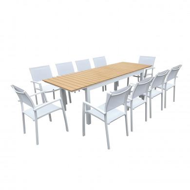 Table de jardin extensible aluminium blanc 180/240cm + 10 fauteuils empilables textilène - PALMA 10