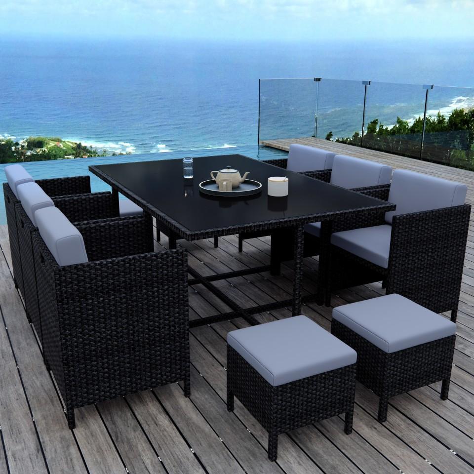 MUNGA 10 Places - Ensemble encastrable salon / table de jardin résine tressée - Noir/Gris