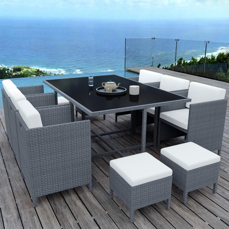 MUNGA 10 Places - Ensemble encastrable salon / table de jardin résine tressée - Gris / Ecru