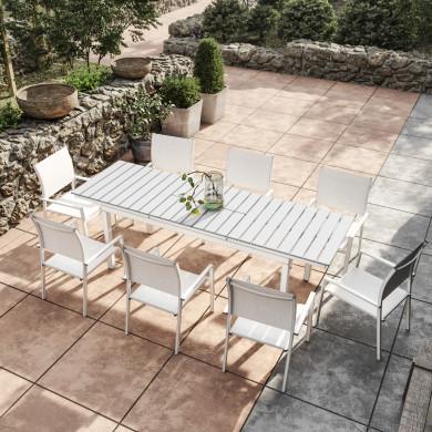 Table de jardin extensible aluminium blanc gris 180/240cm + 8 fauteuils empilables textilène - PALMA 8
