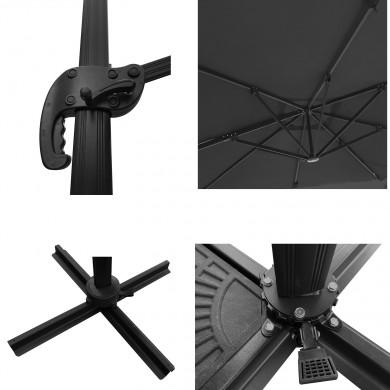 Parasol déporté carré 3x3m aluminium - rotatif à 360° - Gris - RHODES